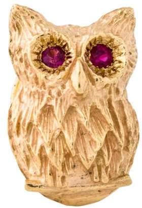 14K Ruby Owl Brooch yellow 14K Ruby Owl Brooch