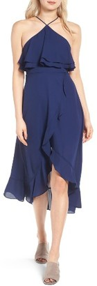 Dee Elly Women's Ruffle Halter Midi Dress