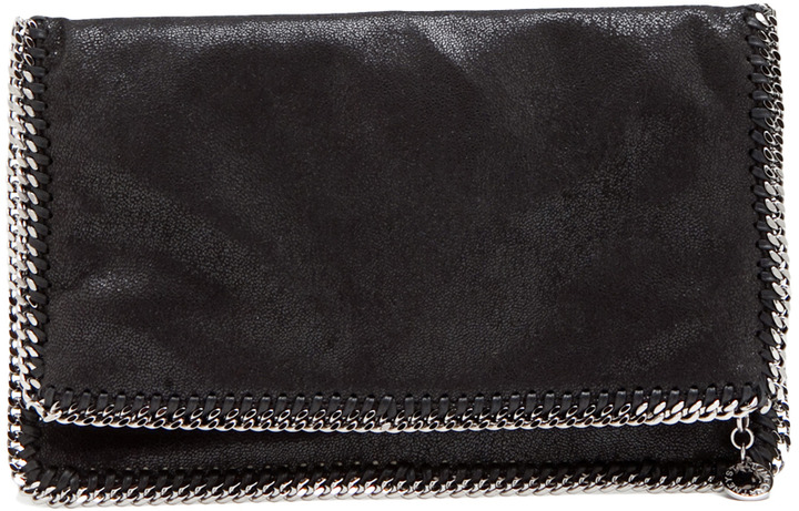 Stella McCartney Shaggy Deer Falabella Fold Over Clutch in Black