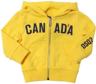 DSQUARED2 Canada Printed Zip-Up Cotton Sweatshirt