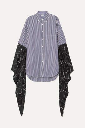 Balenciaga Oversized Striped Cotton-poplin And Printed Silk-georgette Shirt - Navy