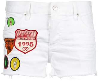 DSQUARED2 patch-work denim shorts