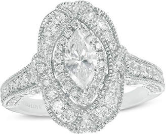 Zales Vera Wang Love Collection 1-1/3 CT. T.W. Marquise Diamond Frame Vintage-Style Engagement Ring in 14K White Gold