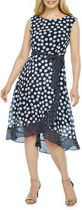 Studio 1 Sleeveless Polka Dot Fit & Flare Dress-Petite