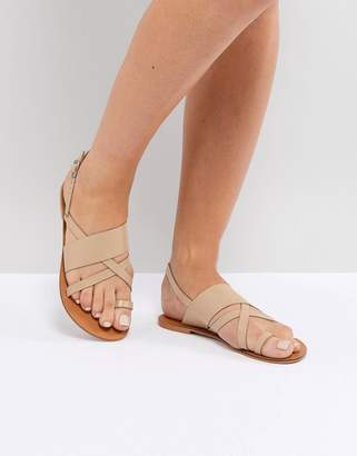 Asos DESIGN FINLEY Leather Flat Sandals