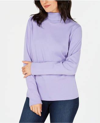 Karen Scott Long-Sleeve Cotton Turtleneck