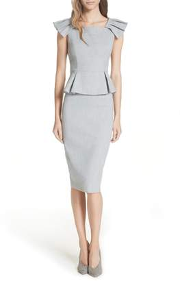 Ted Baker Ted Working Title Daizid Pleat Shoulder Peplum Dress