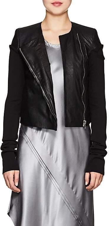 Women's Knit-Sleeve Blistered-Leather Jacket