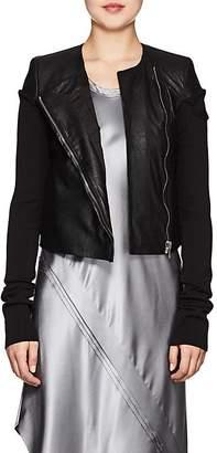 Rick Owens Women's Knit-Sleeve Blistered-Leather Jacket