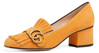 Gucci Marmont Fringe Suede 55mm Loafer $750 thestylecure.com