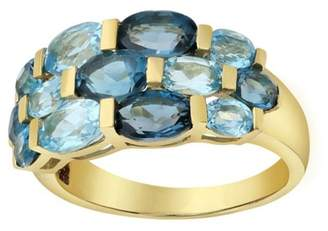 Private Label 14K Yellow Gold With 4 3/4ct Blue Topaz Ring Size 7