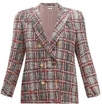 Thom Browne Prince Of Wales Checked Tweed Jacket - Womens - Red Multi