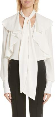 Jason Wu Ruffle Shoulder Tie Neck Silk Blouse