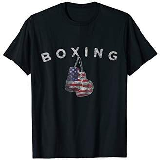 Vintage US Flag Boxing Gloves T-Shirt for July 4th
