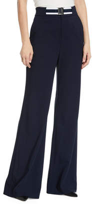 Veronica Beard Maldon Belted High-Rise Wide-Leg Pants