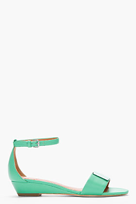 Marc by Marc Jacobs Green napa leather logo plaque Wedge Sandals