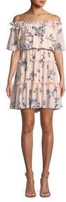 Shoshanna Lora Floral Off-the-Shoulder Mini Dress