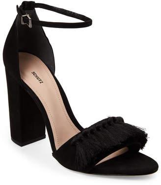 Schutz Black Detty Tasseled Block Heel Sandals