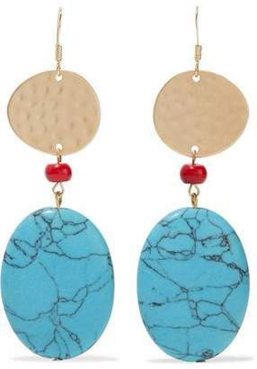 Com Kenneth Jay Lane Hammered Gold Tone Bead And Stone Earrings