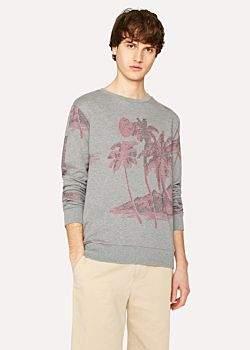 Paul Smith Men's Slim-Fit Grey Loopback-Cotton Sweatshirt With 'Midnight' Jacquard