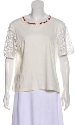 Giambattista Valli Embellished Short Sleeve Top