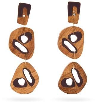 Roksanda Cut Out Wood Drop Earrings - Womens - Brown