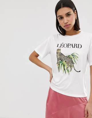 Neon Rose relaxed t-shirt with leopard graphic
