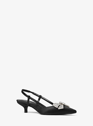 Michael Kors Hallie Crystal-Bow Satin Pump