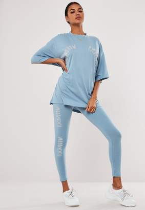 Missguided Blue Graphic Detail High Waisted Leggings