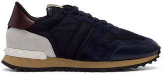 Valentino Navy Garavani Mesh Rockrunner Sneakers