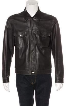 Salvatore Ferragamo Leather Snap-Front Jacket
