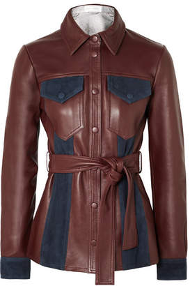 Victoria Beckham Victoria, Suede-paneled Leather Jacket - Burgundy