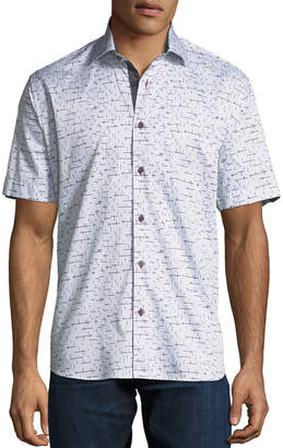 Line & Dot Maceoo Shaped-Fit Line-Dot Short-Sleeve Sport Shirt