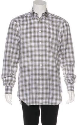 Kiton Linen-Blend Plaid Shirt
