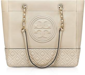 Tory Burch Light Taupe Leather Fleming Tote Bag