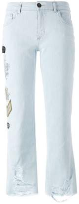 Mr & Mrs Italy embellished multi-patch jeans