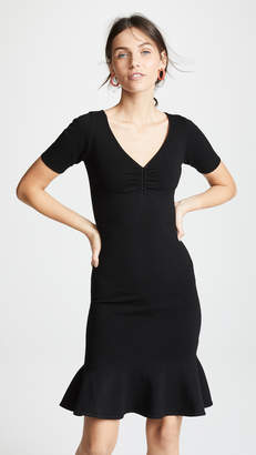 Milly Shirred V Neck Dress