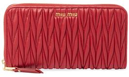 Miu MiuMatelass Leather Zip Around Wallet