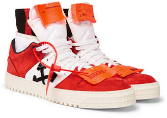 Off-White Off White Off-Court Nubuck and Canvas High-Top Sneakers - Men - Red
