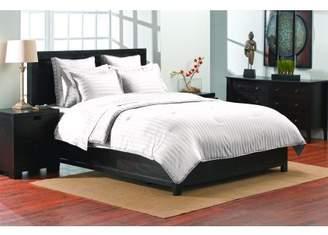 Color Sense Damask Stripe Reversible 3-Piece Full/Queen White Comforter Set