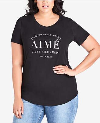 City Chic Trendy Plus Size Graphic-Print T-Shirt