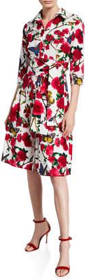 Samantha Sung Aubrey Rose & Butterfly Printed 3/4-Sleeve Belted Shirtdress
