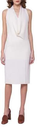 Akris Sleeveless Drape-Front Dress, Off White