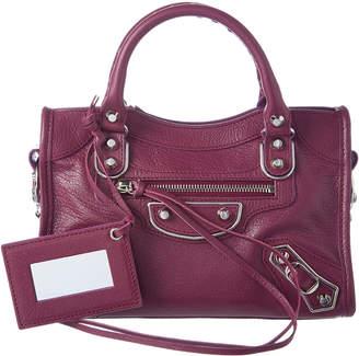 Balenciaga Classic Silver Metallic Edge City Mini Leather Shoulder Bag