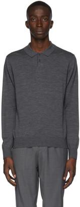 Ermenegildo Zegna Grey Wool Knit Long Sleeve Polo