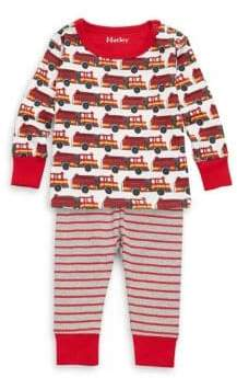 Hatley Baby's and Toddler's Two-Piece Cotton Fire Truck Mini Pajamas Top and Pants Set