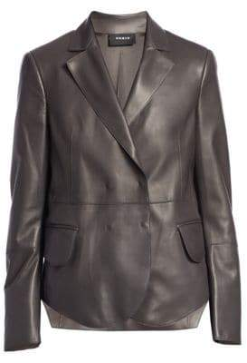 Akris Denada Scalloped Hem Leather Blazer