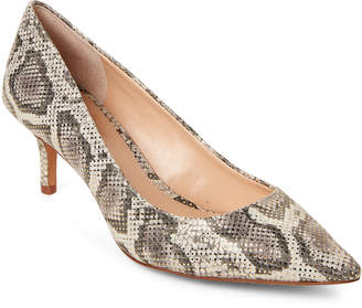Vince Camuto Natural & Gold Snake-Effect Pointed Toe Pumps