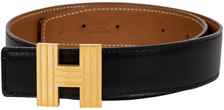 One Kings Lane Vintage HermAs Reversible Gold & Black H Belt - Vintage Lux