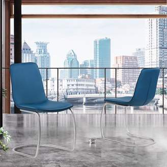 Laurette Marelana Contemporary Dining Chair in Brushed Stainless Steel Finish and Blue Faux Leather - Set of 2